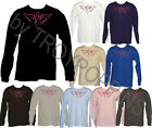 1-GRAPHIC PRINTED LONG SLEEVE TEE-SHIRT-WINGS RIBBON FOR BREAST CANCER AWARENESS