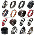 Cool Mens Unisex Real Cow Leather Buckle Cuff Wristband Bangle Bracelet Jewelry