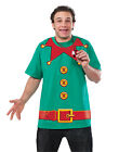 Elf Santa Helper T-Shirt Funny Holiday Christmas Adult Costume - Large
