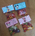 Personalised pack of 6 Mickey or Minnie Mouse fold over sweet & bags , party bag