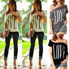 Fashion Women Ladies Short Sleeve One Shoulder Shirt Blouse T-Shirt Casual Tops