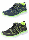 Boys Lightweight Glow in the Dark Shoes Trainers Velcro Lace Up BLACK BLUE 8-2