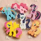 4 or 6pcs Disney My Little Pony Funny Wooden Pinback Pins Badge Brooch Kids Gift