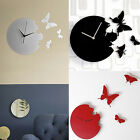 Art Design Home Decor 3D Wall Clock Modern Style Time Large Butterfly New