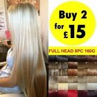 Hair Extensions UK Seller 8 pcs Full Head Clip in Hair as Human Favored Blonde
