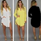 Womens Casual V Neck Long Sleeve Loose Chiffon T Shirt Ladies Blouse Dress Tops