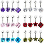 4x 14G CZ Gems Surgical Steel Barbell Navel Bars Belly Button Ring Body Piercing