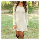 Women Autumn Winter Long Sleeve Knitted Jumper Sweater Tops Pullover Dress