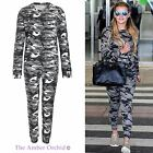 Ladies Womens Diamante Tracksuit Army Camouflage Jogging Lounge Suit Loungewear