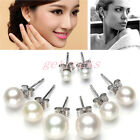925 Sterling Silver Stud Cultured Freshwater Pearl Wedding Bridal Round Earrings