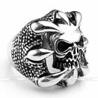 Punk Heavy Biker Dragons Claw Skull Men's 316L Stainless Steel Finger Ring Cool