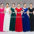 Women Lace Chiffon Short Sleeve Evening Party Gown Wedding Bridesmaid Long Dress