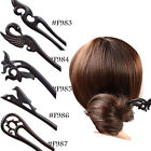 Women Vintage Carved Wooden Hair Stick Pin Wood Hair Accessories Black Handmade