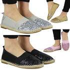 WOMENS LADIES GLITTER FLAT SLIP ON BALLERINA ESPADRILLES SHOES SANDALS FLATS SIZ