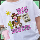 COWBOY BIG SISTER SHIRT PERSONALIZED WITH NAME RIDING HORSE SHERIFF OUTLAW