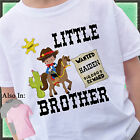 COWBOY LITTLE BROTHER SHIRT PERSONALIZED WITH NAME RIDING HORSE SHERIFF OUTLAW