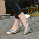 Women fashion silver stiletto high heel pointed toe comfort OL pumps dress shoes