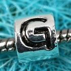 Silver Plated 5mm Big Hole European Bead Fit Charm Bracelet Letters A-Z Finding