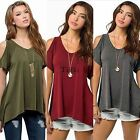 Women Casual V-Neck Summer Off Shoulder Blouse Tops T-Shirt gift charming TXWD
