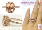 8x10mm Oval Cut Morganite Engagement Diamonds Ring Real 14K Rose Gold Claw Prong