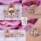10x12mm Cushion Morganite Engagement Ring Set Solid 14K White Gold Diamonds Band