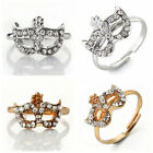 Fashion Punk Bohemian Boho Silver/Gold Shiny Crystal Mask Ring Adjustable US6.5
