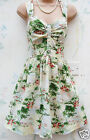 SIZE 8 10 12 TROPICAL PRINT 50'S STYLE COTTON DRESS HAWAII PALM TIKI # US 4 6 8