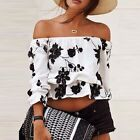 BOHO WOMENS SEXY STRAPLESS CROP TOP OFF SHOULDER FLOWER LOOSE BLOUSE CASUAL TOPS