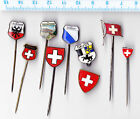 Vintage SWITZERLAND pin badge brooches SCHWEIZ Anstecknadeln Brosche Flag Fahne