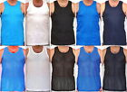 Packs Of Mens Vests 100% Cotton Summer Sport Training Gym Yoga White Black Blue