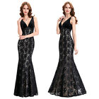 Elegant V-Neck Ball Gown Evening Prom Party Dress Wedding Bridesmaids Cocktail