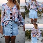 New Women Casual O-Neck Flare Long Sleeve Waist Pleated Print Blouse Tops DZ88