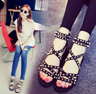 Womens rivets ankle strap roman sandals flat heel peep toe summer shoes sexy S01