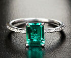 Round Prong 6x8mm Green Emerald 14k White Gold Engagement Wedding Diamonds Ring