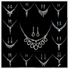 Women Wedding Jewelry Set Crystal Rhinestone Butterfly  Pendant Necklace Earring