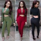 Fashion Two Piece Set Women's Hollow Long Sleeve Bodycon Nightclub Dress UR