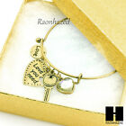 Expandable Wire Gold Love Heart Key Charms Bangle Bracelet Simple Style GB098G