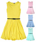 Girls Sleeveless Pastel Summer Dress New Kids Belted Skater Dresses Age 2-13 Yrs