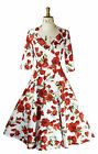 Baylis Knight Red Rose Wrap CIRCLE Dress 50's