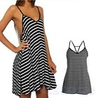Hot Lady Sexy Summer Cool Black And White Stripes Loose V-neck Halter Dress