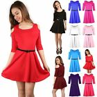 Women Ladies 3/4 Sleeve Cut Shoulder Flared Swing Party Mini Skater Dress  8-26
