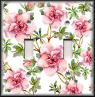 Light Switch Plate Cover - Pink Green Flowers - Floral Home Decor