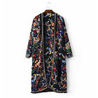 Ethnic Flower Print Embroidery Tassel Shirt Fringed Cardigan Trench Blouse Tops