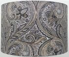 Paisley Silver / Grey  Linen Style Cylinder / Drum Lampshades , Ceiling Light