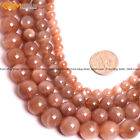 "Natural Stone Genuine Moonstone Beads For Jewelry Making Strand 15"" Light Salmon"