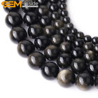 Natural Stone Genuine Gold Obsidian Gemstone Beads For Jewelry Making 15""
