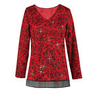 Collections Etc Women's Sequined Festive Mesh Trim Top