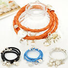 Women Fashion Elephant Pearl Multi Layer Braided Charm Leather Weave Bracelet