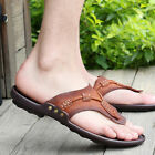 Summer Men's Casual Shoes Genuine Leather Flip Flops Beach Sandals Slippers New