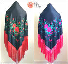 New Beautiful XXL Large Triangular Spanish Flamenco Shawl & Bright Fringe 200cm